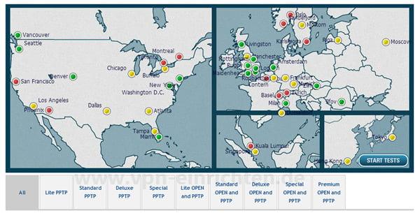 Kartenansicht der VPN-Server von StrongVPN