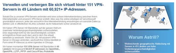 Übersicht der VPN-Server von Astrill